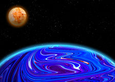 Illustration av en främmande planetst Royaltyfri Foto