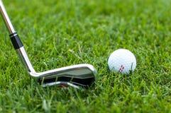 Illustration av en golfboll på en grön äng Royaltyfri Foto