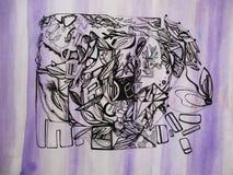 Illustration av en grafisk abstrakt bionisk konst på en purpurfärgad randig bakgrund vektor illustrationer