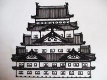 Illustration av en grafisk teckning av en japansk tempel stock illustrationer