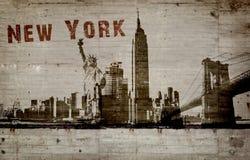 Illustration av en grafitti på en betongvägg av staden av New York arkivfoton