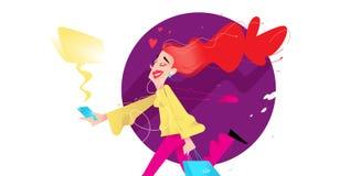 Illustration av en gullig flicka med shopping också vektor för coreldrawillustration Den gulliga rödhåriga flickan kör med telefo arkivfoto