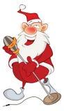 Illustration av en gulliga Santa Claus en sångare huvudet för uppnosiga gulliga hundar för bakgrundstecknad filmteckenet isolerad Royaltyfri Bild