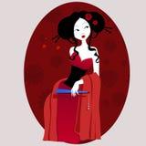 Illustration av en härlig geisha i röd klänning mycket försiktigt och passionerat vektor illustrationer