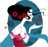 Illustration av en härlig geisha i röd klänning mycket försiktigt och passionerat stock illustrationer