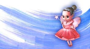 Illustration av en härlig rosa fe Arkivbilder