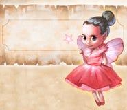Illustration av en härlig rosa fe Royaltyfri Foto