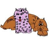 Illustration av en hund med en spargris Arkivfoton