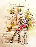 Illustration av en hund nära en julgran stock illustrationer