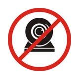 Illustration av en inte tillåten symbol med en webcam Ingen webcamsymbol royaltyfri illustrationer