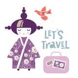 Illustration av en japansk flicka i form av en medborgareKokeshi docka i en kimono royaltyfri illustrationer