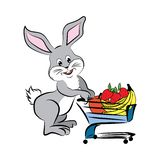 Illustration av en kanin med shoppingvagnen royaltyfri illustrationer