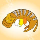 Illustration av en katt med kattungar Stock Illustrationer