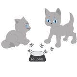 Illustration av en kattunge omkring som äter mat Arkivfoto