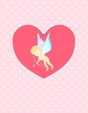 Illustration av en kupidon för dag för valentin` som s är klar att skjuta hans pil i vykort för hjärtahälsningkort Arkivbild