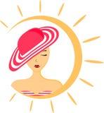 Illustration av en kvinna med hatten och baddräkten royaltyfri bild