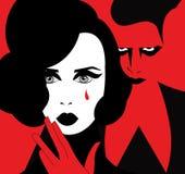 Illustration av en kvinna som gråter med en ond man vektor illustrationer