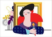 Illustration av en kvinnlig målare med den dekorativa beståndsdelen royaltyfri illustrationer