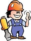 Illustration av en lycklig mekaniker Handyman stock illustrationer