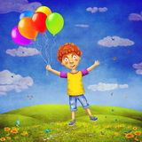 Illustration av en lycklig pojke med ballonger på gläntan Royaltyfri Fotografi