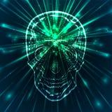 Illustration av en mänsklig skalle med gröna strålar stock illustrationer