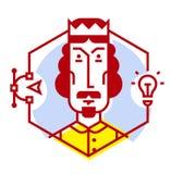 Illustration av en märkes- symbol i en plan stil Vektorsymbol som isoleras på vitbakgrund Bilden av rengöringsdukformgivaren, ord stock illustrationer