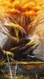 Illustration av en man efter en kamp som sitter n?ra ett tr?d vektor illustrationer