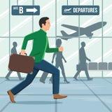 Illustration av en man med bagage som bråttom kör Royaltyfria Bilder