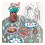Illustration av en man som dricker te på matställetabellen ?ta middag tabellbakgrund Rasterillustration av att sköta om med vektor illustrationer