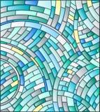 Illustration av en mosaik, med krökta tegelplattor i blåa signaler Fotografering för Bildbyråer