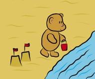 Illustration av en nallebjörn på sjösidan Arkivbild