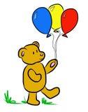 Illustration av en nallebjörn som rymmer ballonger Arkivbild