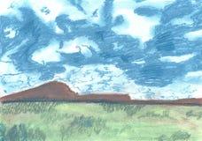 Illustration av en pastell av blå himmel och berg stock illustrationer