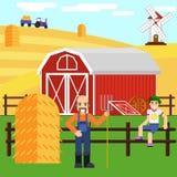 Illustration av en pojke och en bonde på lantgården med ladugården Arkivbild