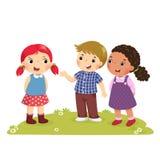 Illustration av en pojke som introducerar hans vän till flickan vektor illustrationer