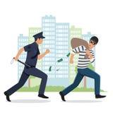 Illustration av en polis som jagar en tjuv med den stal påsen Arkivbild