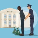 Illustration av en rånare med pengarpåsar som arresteras av polisen Royaltyfria Bilder