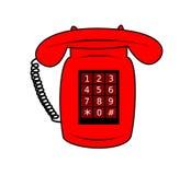 Illustration av en röd telefon arkivbilder
