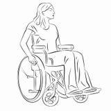 Illustration av en rörelsehindrad person i rullstol, vektorattraktion Arkivfoto