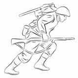 Illustration av en rinnande soldat, vektorattraktion Royaltyfria Foton