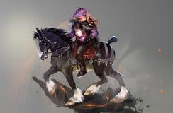 Illustration av en ryttare på en svart häst royaltyfri illustrationer