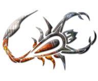 Illustration av en scorpion i krom Arkivfoto