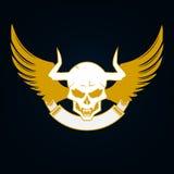 Illustration av en skalle med horn, vingar och emblemmall Royaltyfria Foton