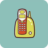 Illustration av en sladdlös telefon Royaltyfri Illustrationer