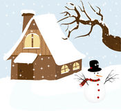 illustration av en snowman med vinter Royaltyfri Fotografi