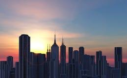 illustration av en stadshorisont Arkivfoto