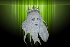 Illustration av en stark drottning i kronan på en grön bakgrund stock illustrationer