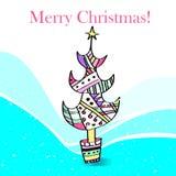 Illustration av en stiliserad julgran. Royaltyfri Fotografi