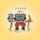 Illustration av en student i ett kontor på arbete, hand-teckning stock illustrationer