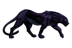 Illustration av en svart panter stock illustrationer